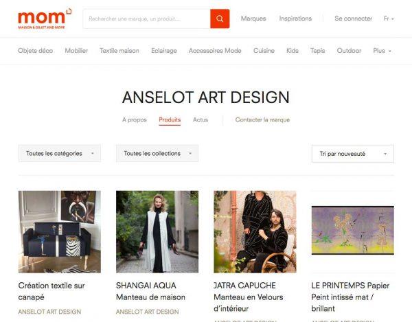 Capture écran de boutique MOM d'Anselot Art-Design
